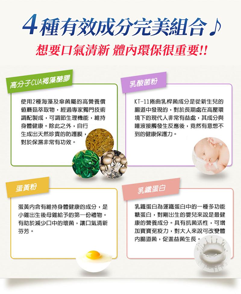 4種有效成分完美組合-高分子CUA褐藻醣膠/乳酸菌粉/蛋黃粉/乳鐵蛋白